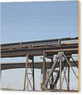 Amtrak Train Riding Atop The Benicia-martinez Train Bridge In California - 5d18839 Wood Print