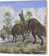 Amurosaurus Riabinini Dinosaurs Grazing Wood Print