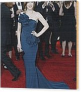 Amy Adams Wearing A Marchesa Gown Wood Print