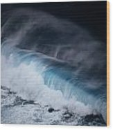 An Aerial View Captures A Large Wave Wood Print