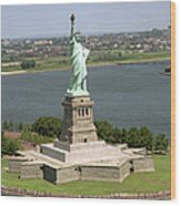 An Aerial View Of The Statue Of Liberty Wood Print