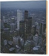 An Aerial View Of Toronto At Dusk Wood Print