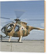 An Afghan Air Force Md-530f Helicopter Wood Print