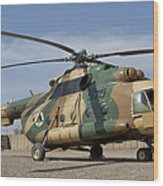 An Afghan Air Force Mi-17 Helicopter Wood Print