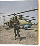 An Afghan Army Soldier Guards A Couple Wood Print
