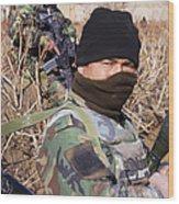 An Afghan Commando On Patrol Wood Print by Stocktrek Images