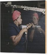 An African American Rosy The Riveter Wood Print by Everett