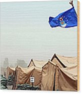 An Air Force Flag In Tent City Waves Wood Print