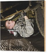 An Airman Inspects The Undercarriage Wood Print by Stocktrek Images