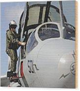 An Airman Makes A Final Look Over An Wood Print