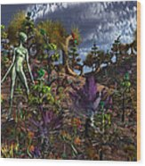 An Alien Being Surveys The Colorful Wood Print by Mark Stevenson