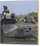 An Amphibious Assault Vehicle Enters Wood Print