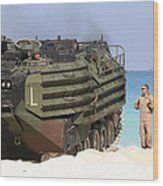 An Amphibious Assault Vehicle Is Guided Wood Print