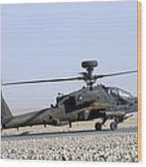 An Apache Helicopter Prepares Wood Print