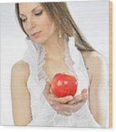 An Apple In Hands Wood Print