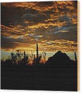 An Arizona Desert Sunset  Wood Print