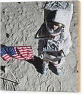 An Astronaut On The Surface Of The Moon Next To An American Flag Wood Print by Caspar Benson