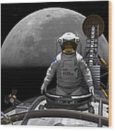 An Astronaut Takes A Last Look At Earth Wood Print