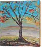 An Autumn Locust Tree Wood Print