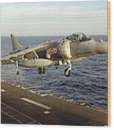An Av-8b Harrier II Prepares To Land Wood Print by Stocktrek Images