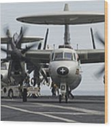 An E-2c Hawkeye Aircraft On The Flight Wood Print