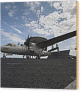 An E-2c Hawkeye Aircraft Prepares Wood Print by Stocktrek Images