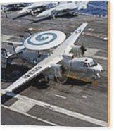 An E-2c Hawkeye Lands On The Flight Wood Print