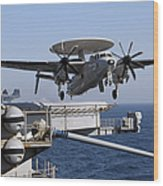 An E-2c Hawkeye Launches Off The Flight Wood Print