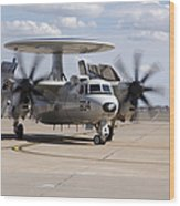 An E-2c Hawkeye On The Runway At Cannon Wood Print