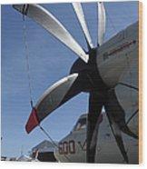 An E-2c Hawkeye Sits On The Flight Line Wood Print