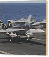 An Ea-18g Growler Lands Aboard Uss Wood Print