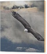 An Eagle In Flight Rising Above The Wood Print by Robert Bartow