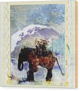An Elephant Carrying Cargo Wood Print