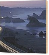 An Evening View Of Highway 101 South Wood Print
