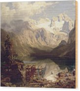 An Extensive Alpine Lake Landscape Wood Print