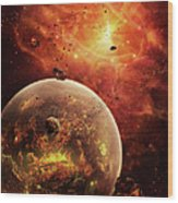An Eye-shaped Nebula And Ring Wood Print