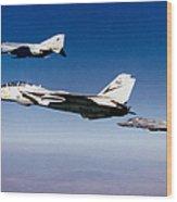 An F-14 Tomcat And Two F-4 Phantom IIs Wood Print