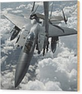 An F-15 E Strike Eagle Receives Fuel Wood Print by Stocktrek Images