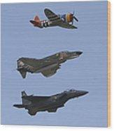 An F-15 Eagle, P-47 Thunderbolt Wood Print