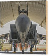 An F-15i Raam Parked In The Hangar Wood Print