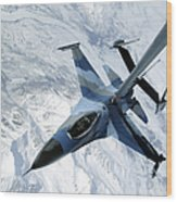 An F-16 Aggressor Sits In Contact Wood Print
