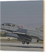 An F-16b Of The Pakistan Air Force Wood Print
