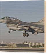 An  F-16b Of The Turkish Air Force Wood Print