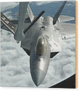 An F-22a Raptor Refuels With A Kc-135 Wood Print
