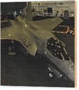 An F-35b Lightning II Is Secured Wood Print