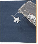 An Fa-18 Hornet Flys Over Aircraft Wood Print