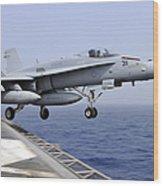 An Fa-18c Hornet Catapults Wood Print