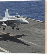 An Fa-18c Hornet Lands Aboard Wood Print