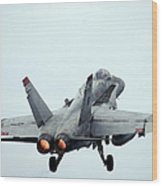 An Fa-18c Hornet Taking Off Wood Print