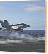 An Fa-18e Super Hornet Catapults Wood Print